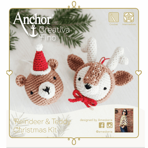 Amigurumi Christmas Reindeer and Teddy Crochet Kit