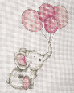 Elephant with Balloons (Pink) Cross Stitch Kit