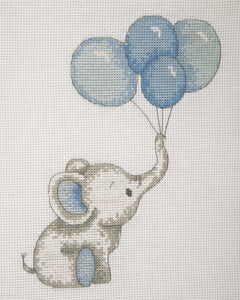 Elephant with Balloons (Blue) Cross Stitch Kit