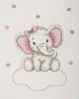 Elephant on Clouds (Pink) Cross Stitch Kit