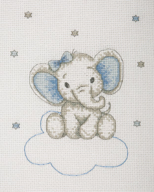 Elephant on Clouds (Blue) Cross Stitch Kit