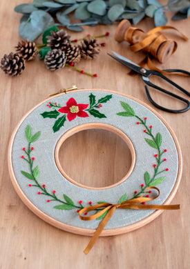Christmas Embroidered Wreath ~ Downloadable PDF