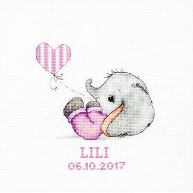 Baby Girl Elephant Cross Stitch Kit
