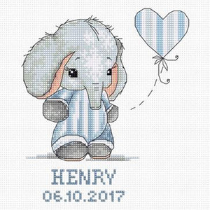 Baby Boy Elephant Cross Stitch Kit