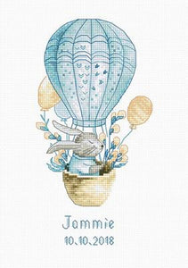 Rabbit in a Hot Air Balloon Cross Stitch Kit