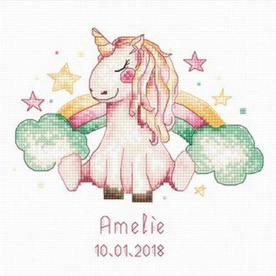 Unicorn and Rainbow Cross Stitch Kit