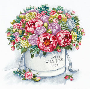 Peonies in a Hat Box Cross Stitch Kit