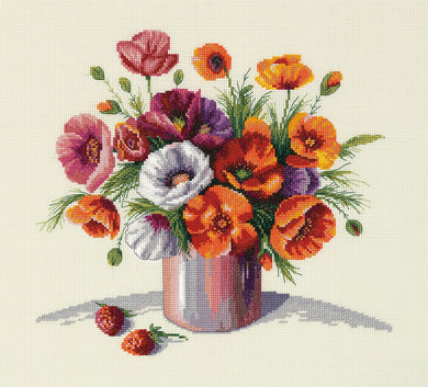 Morning Poppies Cross Stitch Kit