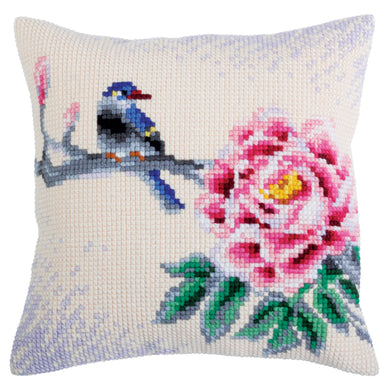 Flower & Bird Cross Stitch Cushion Front Kit