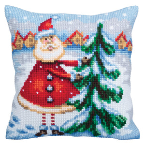 Santa from Lapland Cross Stitch Cushion Front Kit