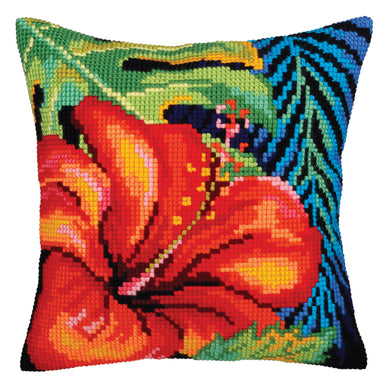 Hibiscus Flower Cross Stitch Cushion Front Kit