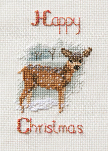 Deer in a Snowstorm - Christmas Card Cross Stitch Kit