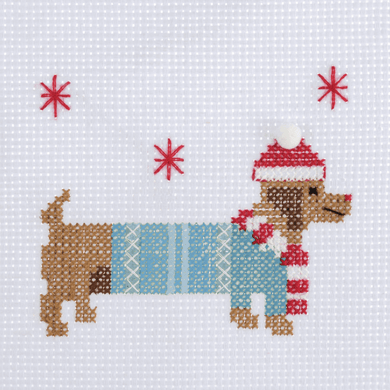 Festive Daschund Mini Cross Stitch Kit