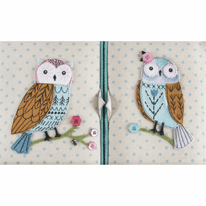 Appliqué Owl Large Twin Lid Sewing Box