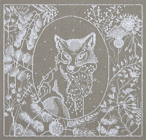 White Lace Fox Cross Stitch Kit