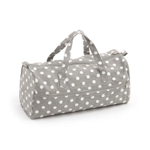Knitting Bag (Fabric Handles) - Grey Linen Polka Dot