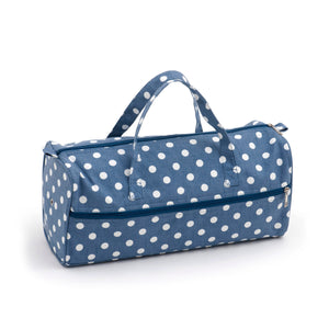 Knitting Bag (Fabric Handles) - Denim Polka Dot
