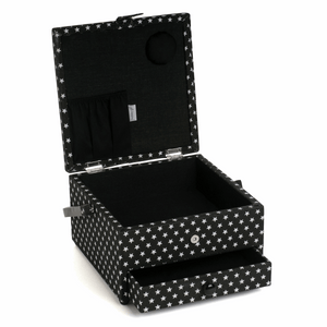 Square Sewing Box with Draw - Black Star