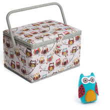 Load image into Gallery viewer, Large Sewing Box / Basket and Pin Cushion - Hoot Owl