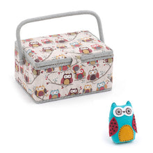 Load image into Gallery viewer, Medium Sewing Box / Basket and Pin Cushion - Hoot Owl