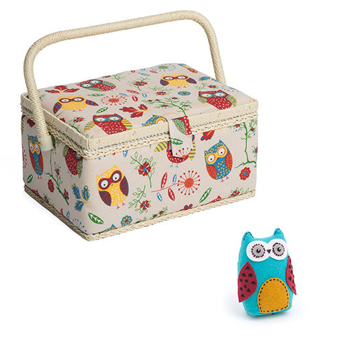 Medium Sewing Box / Basket and Pin Cushion - Owl