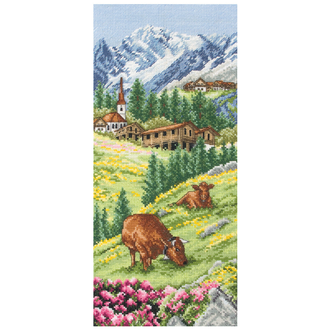 Swiss Alpine Landscape Cross Stitch Kit