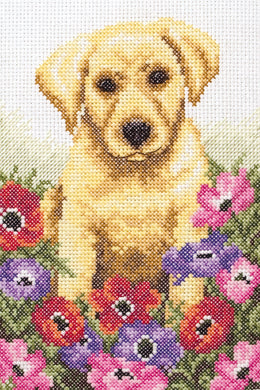 Puppy with Flowers Cross Stitch Kit