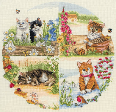 Cats and Seasons Cross Stitch Kit