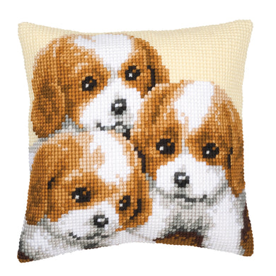 Puppies Cross Stitch Cushion Front Kit