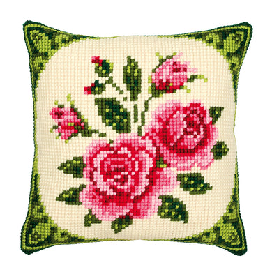 Pink Roses Cross Stitch Cushion Front Kit