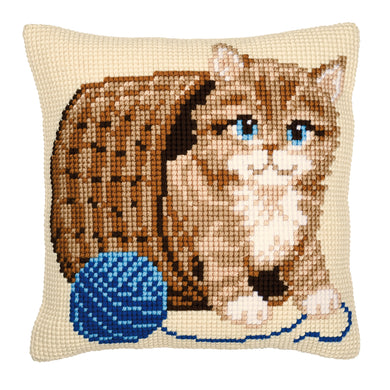 Kitten and Wool Cross Stitch Cushion Front Kit