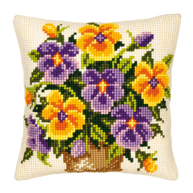Yellow and Purple Pansies Cross Stitch Cushion Front Kit