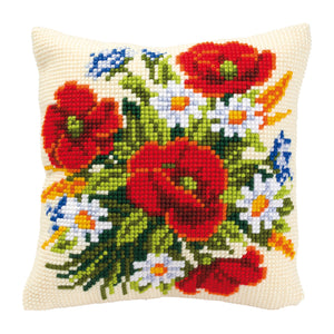 Flowers Cross Stitch Cushion Front Kit