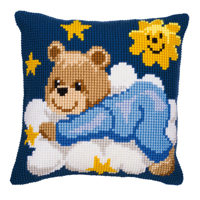Blue Teddy Cross Stitch Cushion Front Kit