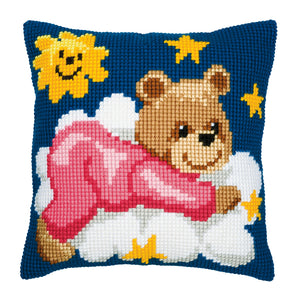 Pink Teddy Cross Stitch Cushion Front Kit