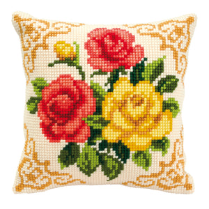 Mixed Flowers Cross Stitch Cushion Front Kit
