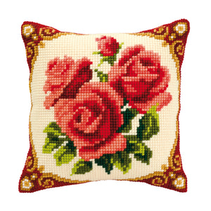 Red Roses Cross Stitch Cushion Front Kit