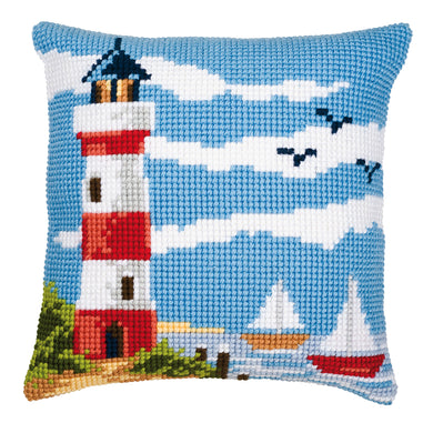 Lighthouse Scene Cross Stitch Cushion Front Kit
