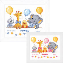 Load image into Gallery viewer, Animals Celebrate Baby Shower Cross Stitch Kit