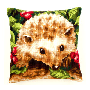 Hedgehog With Berries Cross Stitch Cushion Front Kit
