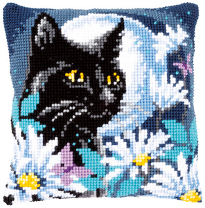Cat in the Night Cross Stitch Cushion Front Kit