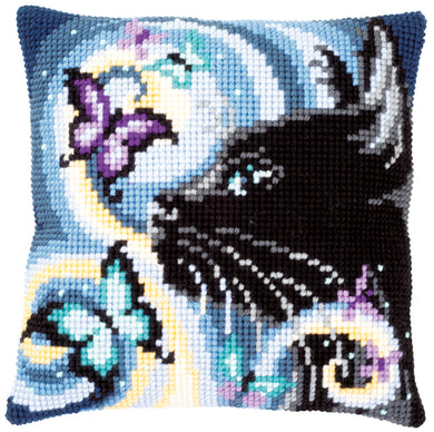 Cat with Butterflies Cross Stitch Cushion Front Kit