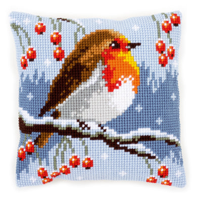 Red Robin in the Winter Cross Stitch Cushion Front Kit
