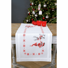 Load image into Gallery viewer, Christmas Elves Table Runner Embroidery Kit