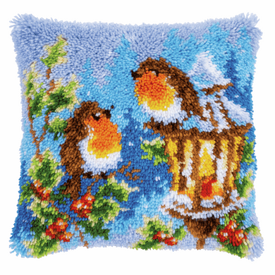 Robins with Christmas - Latch Hook Cushion Front Kit