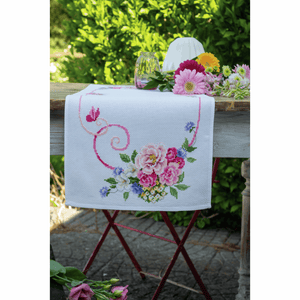 Classic Flowers Bouquet Table Runner Cross Stitch Kit