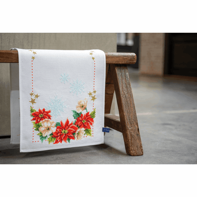 Christmas Flowers Table Runner Cross Stitch Kit