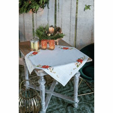 Christmas Flowers Tablecloth Cross Stitch Kit