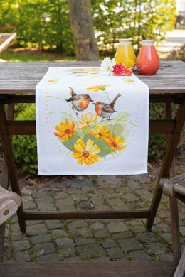 Robin & Flowers Table Runner Cross Stitch Kit