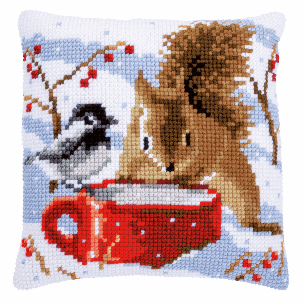 Squirrel and Tit - Cross Stitch Cushion Front Kit